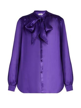 blouse silk satin purple top
