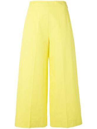 cropped women cotton yellow orange pants