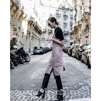 dress tumblr pink dress slit dress midi dress dress over t-shirt black top short sleeve dress over pants black pants black leather pants leather pants sandals sandal heels high heel sandals black sandals thick heel block heels satin dress