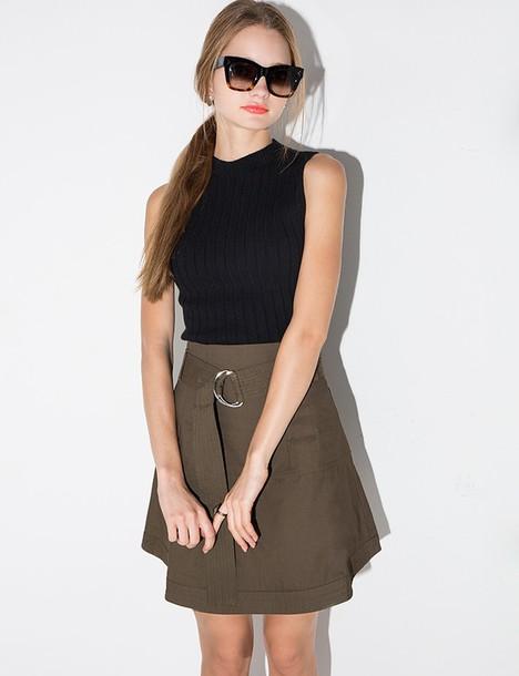 Skirt Olive Cotton Belted Skirt Belted Skirt Olive