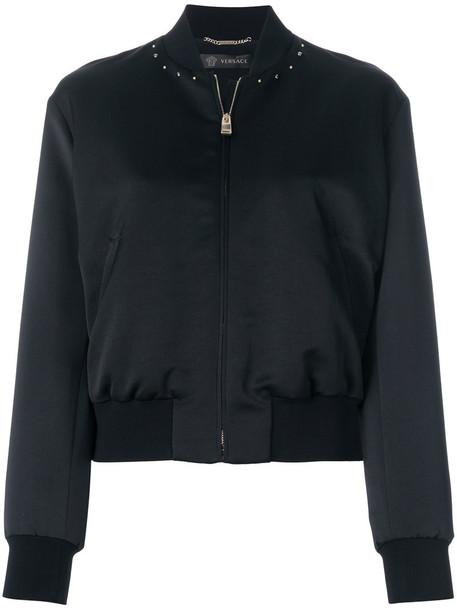 jacket bomber jacket women embellished black silk