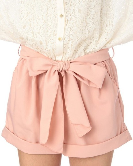 girly pink and white blouse shorts lace thats chic tucked in