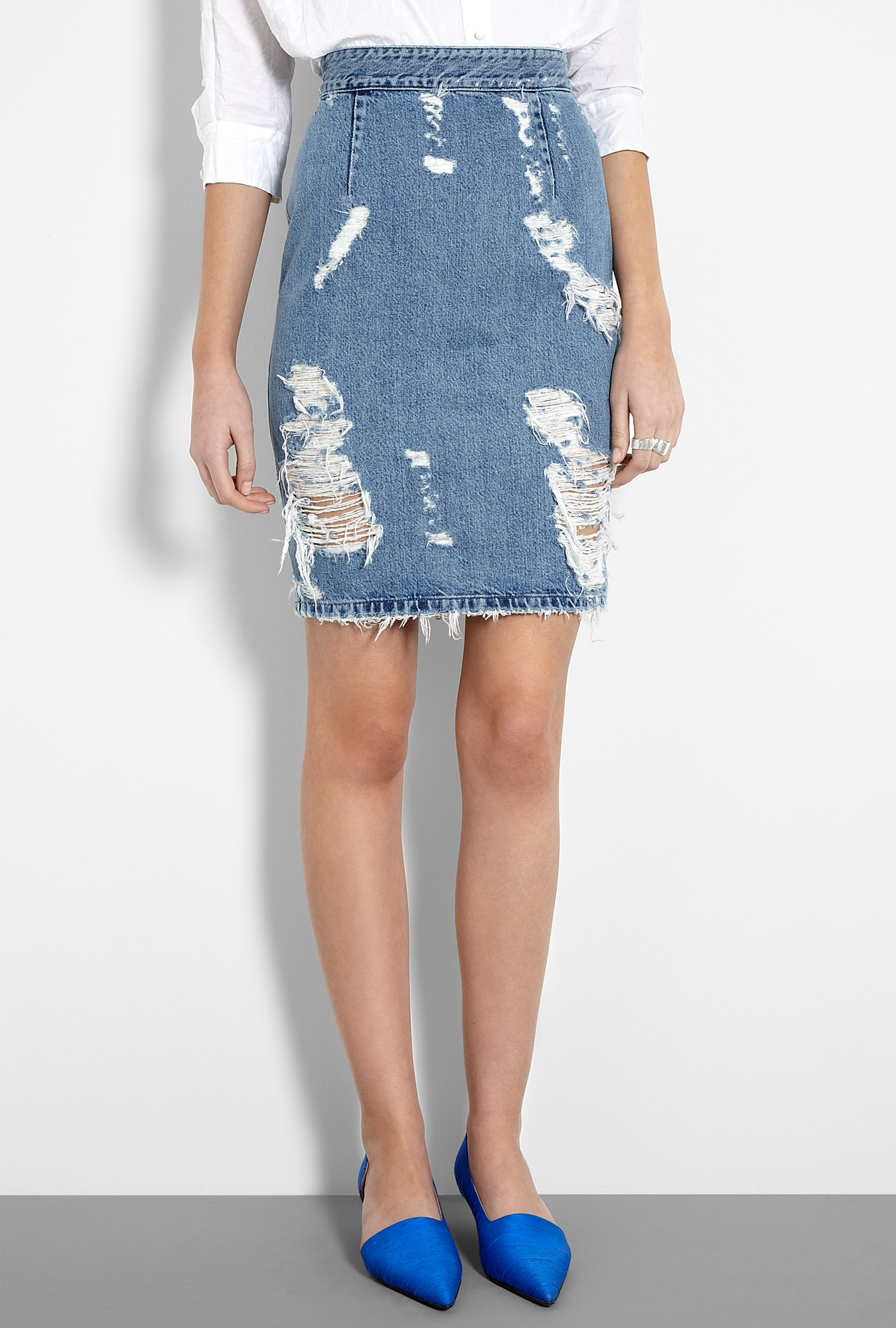 Trashed Denim Zip Back Pencil Skirt by Acne