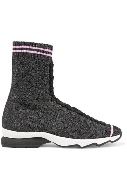 Fendi metallic sneakers knit shoes