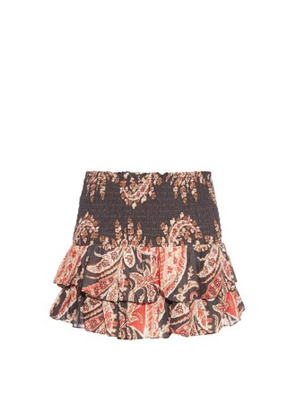 skirt printed skirt ruffle black