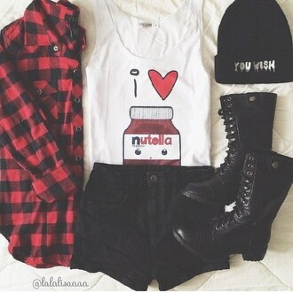 t-shirt nutella wow cute beanies swag jacket style colotful chibi tank top shirt white top nutella shirt nutella chocolate blouse nutell i ❤️ nutella white t-shirt cardigan white tank top i love nutells tank top short boots shorts beanie dress nutella t-shirt nutella lover sleeveless