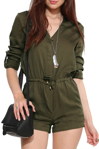 romper back to school cute urban style army green green zaful hipster casual streetwear outfit blogger