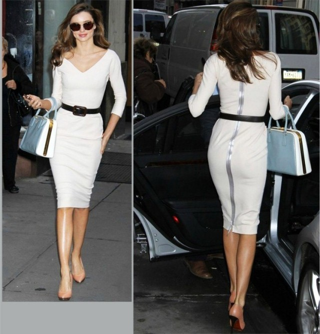 DR0073 2014 Autumn Fashion Brands Beckhams Cotton White Long Sleeved Dress Sexy Slim Party For Women Free Shipping   Amazing Shoes UK