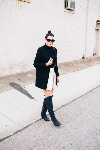 kendi everyday blogger skirt coat sunglasses white skirt black coat knee high boots