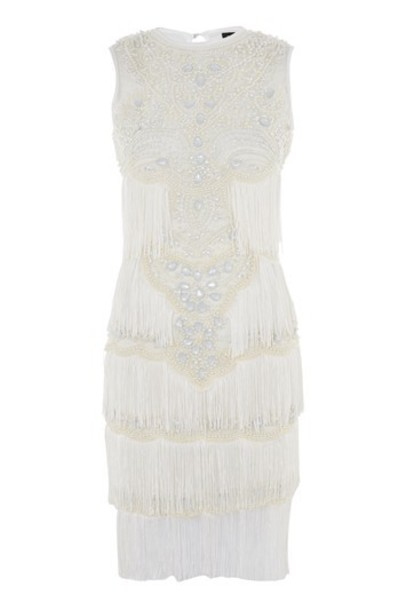 Topshop dress shift dress embellished white