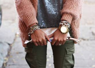 jewels clothes fashion trendy bracelets sweater sequins stacked bracelets