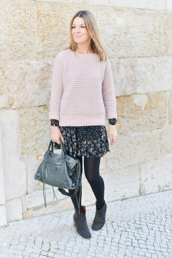 the working girl sweater shoes bag jewels skirt blouse