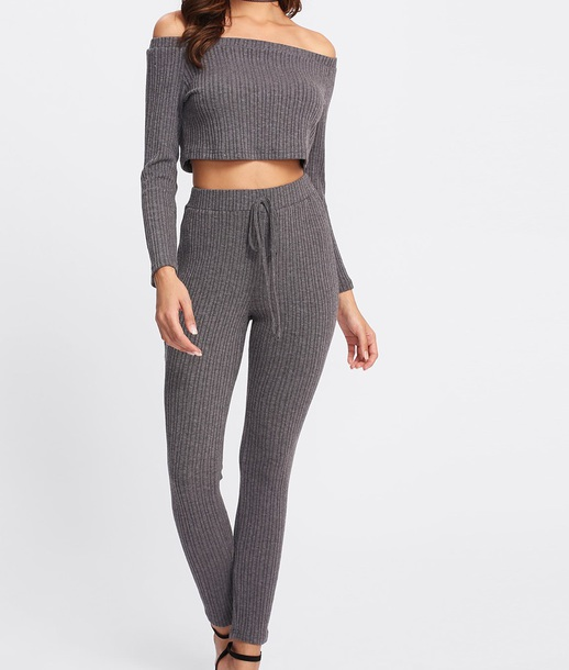 d32756473478f4 jumpsuit girly grey knitwear knit two-piece matching set crop tops crop  cropped off the