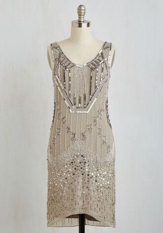 dress cream beige tan see through mesh new year's eve party the great gatsby sequins beaded high-low dresses 20s flapper vintage
