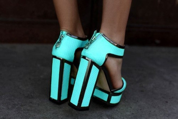 pretty shoes light blue flurescent heel black high heels fluro blue high heels zip zip-up blue tumblr tumblr shoes