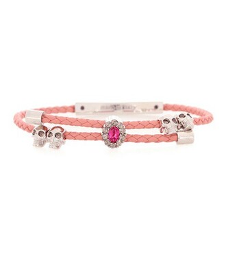skull leather pink jewels