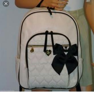 bag betsey johnson backpack bow black black and white white