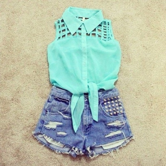 blouse blue blouse cut out blouse shirt blue cut-out sleeveless denim shorts studs collar blouse shorts t-shirt mint sleeveless top High waisted shorts clothes amazing beautiful girl classy teens High waisted shorts summer beach outfit knotted collar t-shirt tank top studded shorts