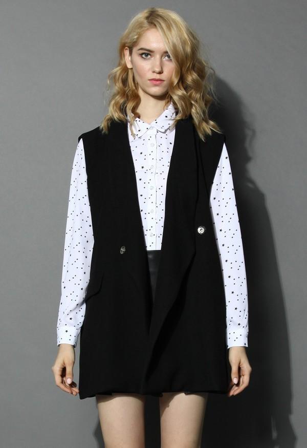 top chicwish black blazer sleeveless