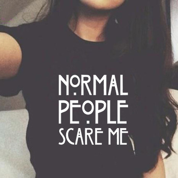 Funny novel black women normal people scare me letter printed t shirt woman tee street womens lettered print tshirt girls top