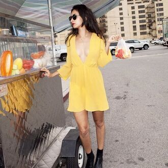 dress reformation reformation dress mini dress summer dress yellow dress v neck dress plunge v neck short dress long sleeve dress summer outfits boots black boots sunglasses black sunglasses