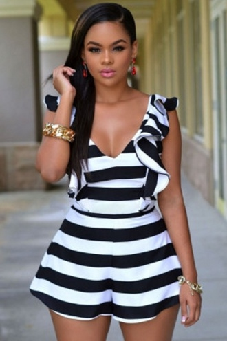 romper wots-hot-right-now black and white black and white stripes ruffle ruffled romper plunge v neck cleavage sexy sexy rompers party dress party romper cute cocktail romper