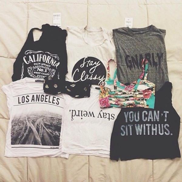 shirt california los angeles stay weird top t-shirt hipster underwear