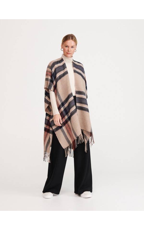 Buy online! Checked poncho, RESERVED, WX313-MLC