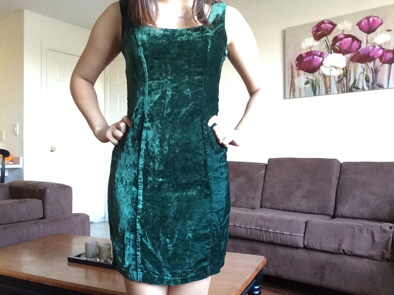 Rare vintage 80's dark green crushed velvet betsy johnson body con dress: punk label