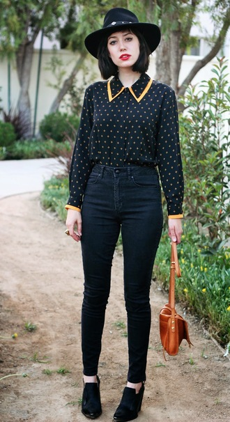 a fashion nerd top jeans shoes bag jewels blogger hat collar polka dots forever 21 fall outfits clutch preppy back to school hipster high waisted jeans boots blouse black shirt