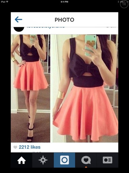 bow top dress pink black bottom