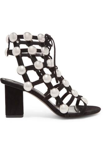 studded sandals suede black shoes
