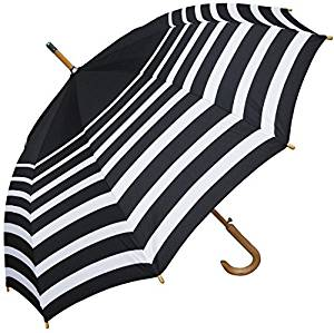Amazon.com : RainStoppers W043 Auto Open Striped Arc Umbrella with Hook Handle, Black/White, 48
