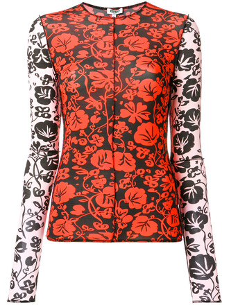 top women spandex floral red