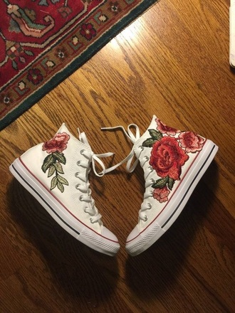 shoes white converse shoes rose