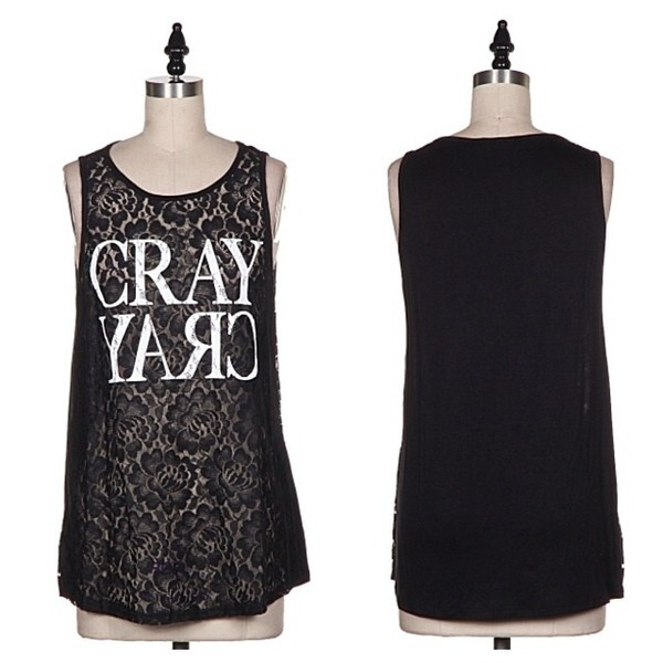 shirt cray crazy tank top top lace makeup table vanity row dress to kill rock vogue chic fashion
