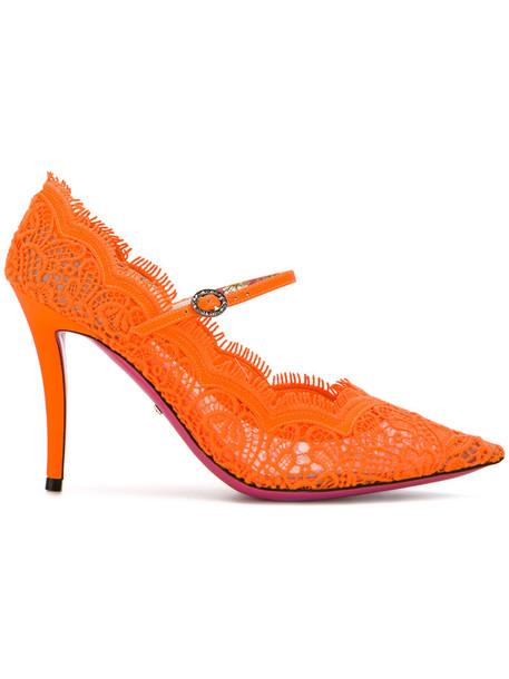 women pumps lace leather cotton yellow orange shoes