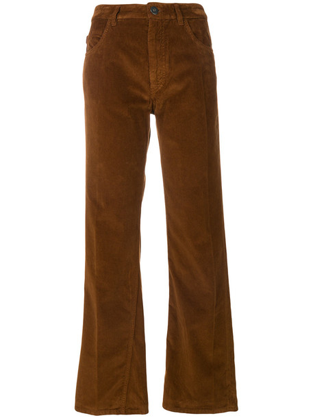 Prada high women cotton brown pants