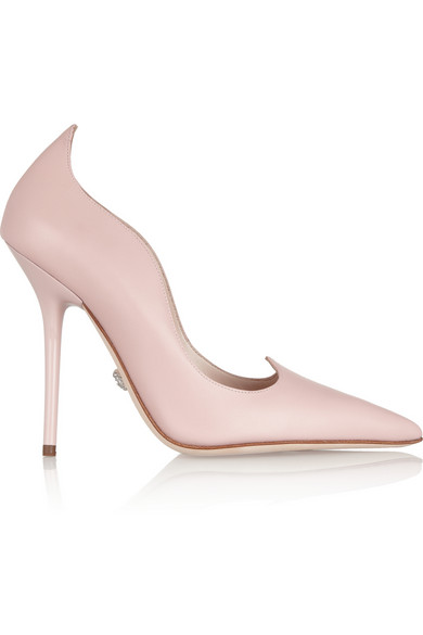 Versace | Scalloped leather pumps | NET-A-PORTER.COM