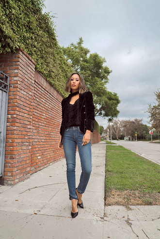 jacket tumblr black blazer blazer denim jeans blue jeans shoes high heels heels camisole black top