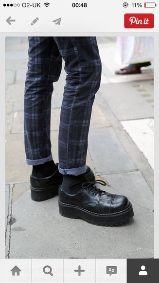 shoes mens shoes jeans tartan trousers loafers creepers shorts grunge street style goth hipster hipster
