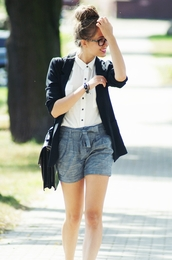 kasia,grey shorts,preppy,shirt,shorts,back to school,bag,coat,blouse