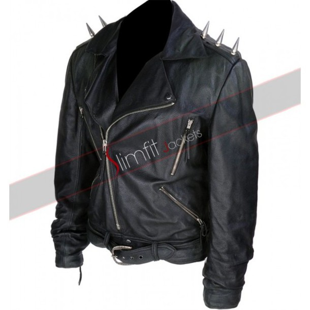 jacket ghost rider nicolas cage spiked jacket leather fashion designer men's wear celebs movies clothes apprel