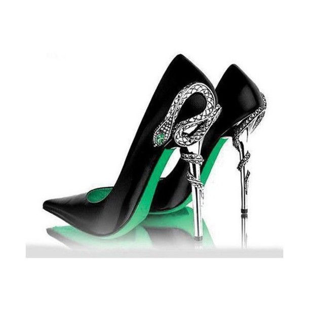 shoes high heels stilettos office outfits black heels style fashion cap silver reptile green diamonds black green silver snake