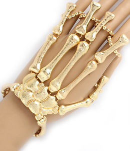 Hot Celeb Statement Gold Skeleton Hand Bracelet Attached Rings Rocks Boutique | eBay
