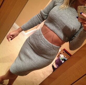 knitted cardigan knitwear knitted scarf knitted sweater grey sweater crop tops cropped sweater two-piece matching skirt and top body bodycon dress bodycon skirt skirt midi skirt tights top dress jewels t-shirt