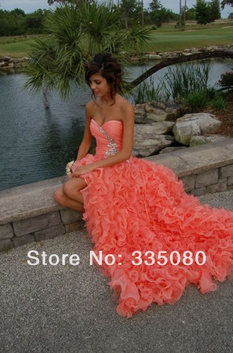 Aliexpress.com : Buy Hot Sale High Low Organza Sweetheart vestidos de festa Prom Dresses 2014 from Reliable prom dress long suppliers on Fashion Lady's Bridal