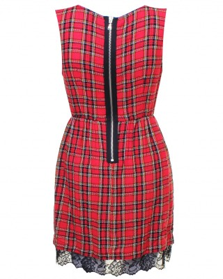 LOVE Red Tartan Dress With Split Skirt and Lace Detail - In Love With Fashion