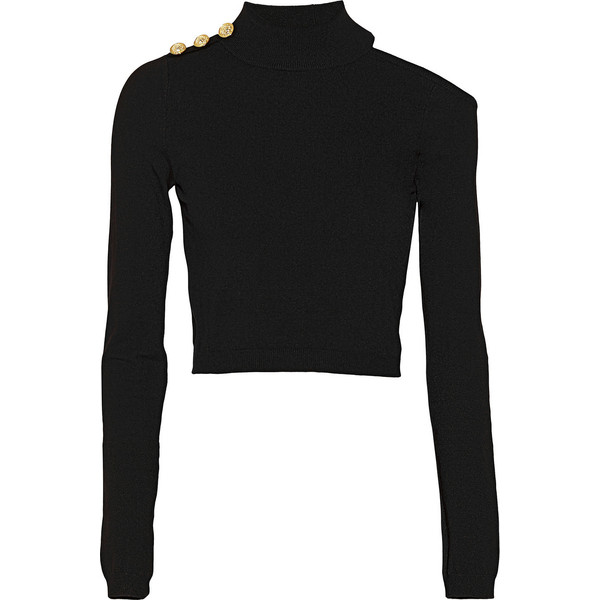 Versus Cropped stretch-knit turtleneck top - Polyvore