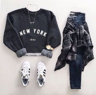 top jumper grunge grunge t-shirt flannel shirt jeans
